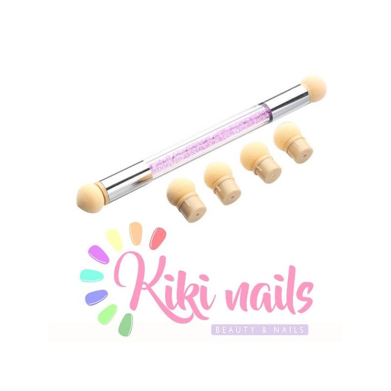 Pennello nail art, punta sponge, modello swarovski con ricambi