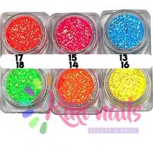 Glitter fluo 0.02 mm, 1.5 gr, vari colori