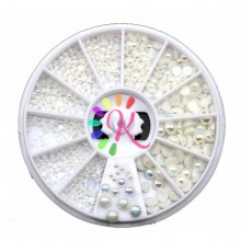 Ruota mezze perle bianche varie misure 600 pz