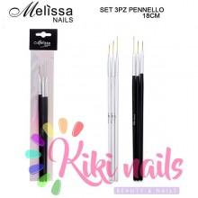 Kit 3 pennelli nail art neri, punta lunga, varie misure alta qualità Melissa