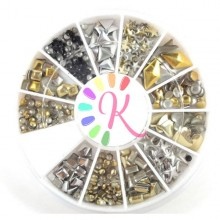 Ruota 500 borchie classiche oro nere argento, vari design