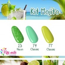 Kit mojito: gel color silcare N23, CL74, CL77