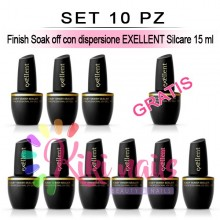 Set 10 Finish Soak off con dispersione EXELLENT Silcare 15 ml
