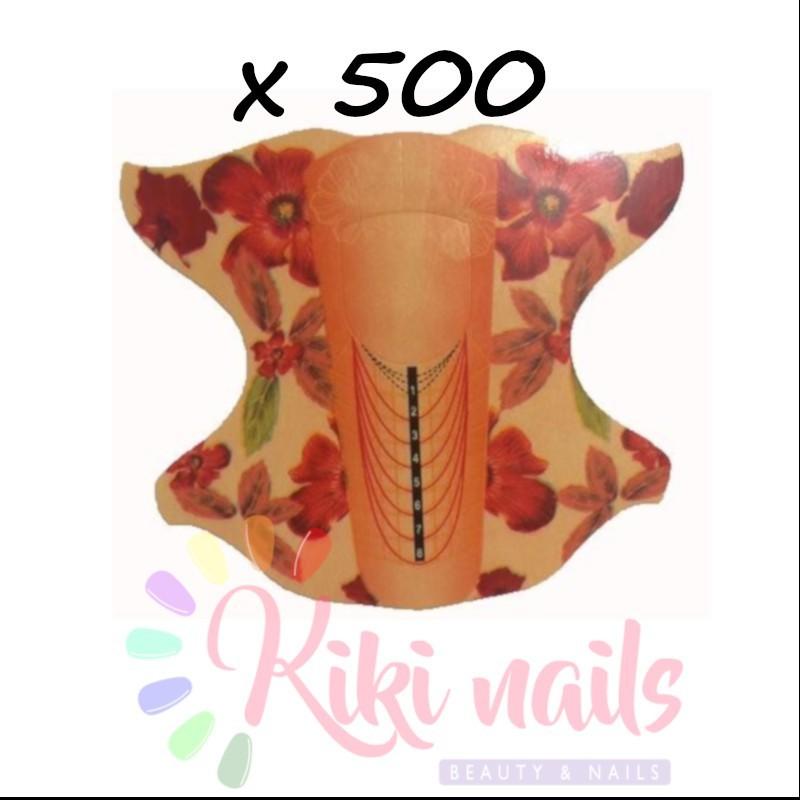 Cartine nail form RICOSTRUZIONE UNGHIE mandorla orange arancio fiori 500pz