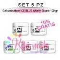 Set 5 Gel costruttore ICE BLUE Affinity Silcare 100 gr