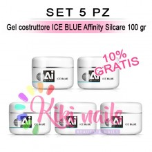 Set 5 Gel costruttore ICE BLUE Affinity Silcare 100 gr