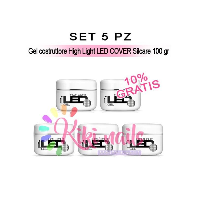 Set 5 Gel costruttore High Light LED VIOLET Silcare 100 gr
