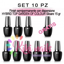 Set 10 Finish semipermanente con dispersione HYBRID TOP GARDEN OF COLOUR Silcare 15 gr