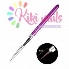 Pennello nail art, punta fine, 9 mm, modello rigato viola scuro