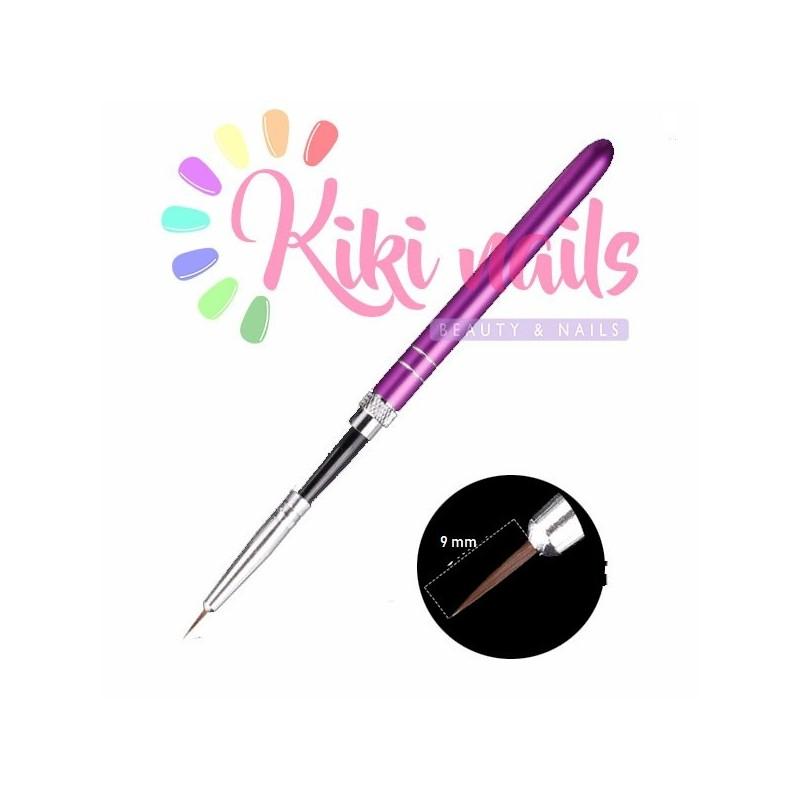 Pennello nail art, punta obliqua, 6 mm, modello rigato viola scuro