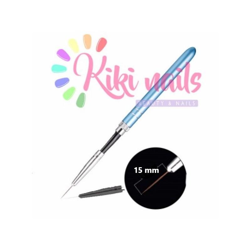 Pennello nail art, punta ago sottile, 15 mm, modello rigato