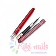 Pennello colore, punta tonda, 8 mm, modello rigato rosso