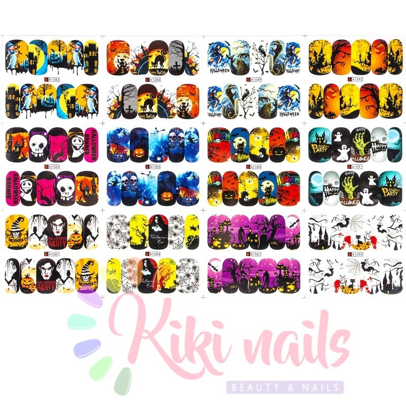 foglio 12 Water decal nailHALLOWEEN economici offerta stickers unghie