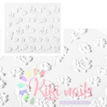 Stickers nail 5D rose bianche, decorazione in rilievo