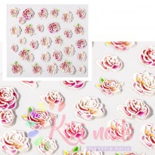 Stickers nail 5D rose acquarello, decorazione in rilievo