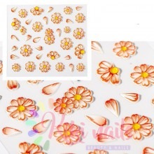 Stickers nail 5D fiori arancio, decorazione in rilievo