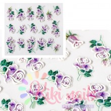 Stickers nail 5D rose viola, decorazione in rilievo