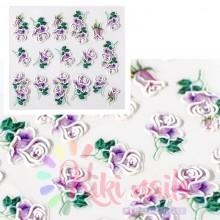 Stickers nail 5D rose viola, decorazione in rilievo