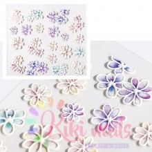 Stickers nail 5D fiori sfumati acquarello, decorazione in rilievo