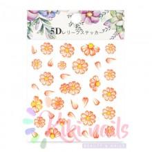 Stickers nail art fiori semplici color arancione 5D, decorazione in rilievo